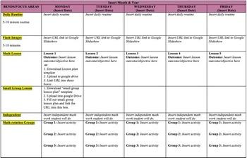 Math Unit Calendar