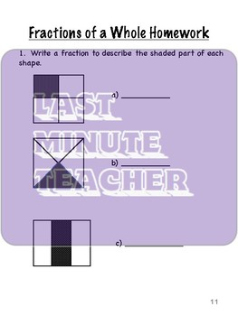 Math Unit - Fractions Student Workbook for Canada