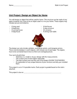 Math Unit Project - Design an Object for Home