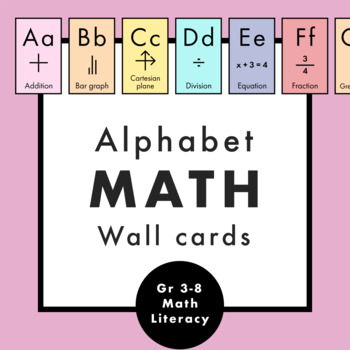 Math Upper and Lower Case Alphabet Cards - Word Wall for Elementary School