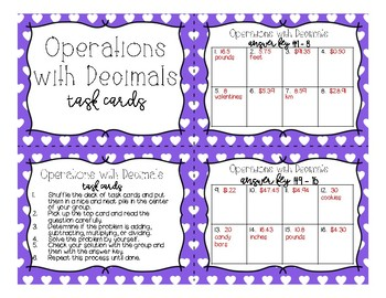 Math - Valentine's Day All Operations with Decimals Word Problems Task Cards
