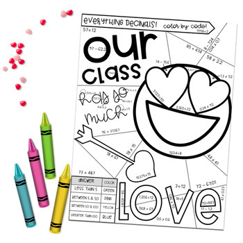 Math Valentine's Day Color by Number Activity: ALL Decimal Operations