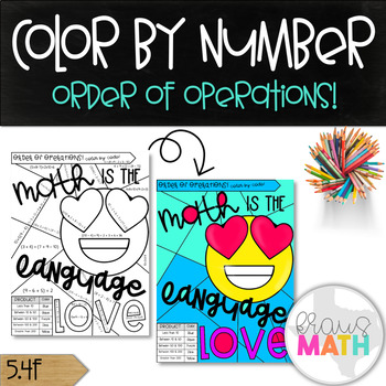 Math Valentine's Day Color by Number Activity: Order of Operations! (5.4F)