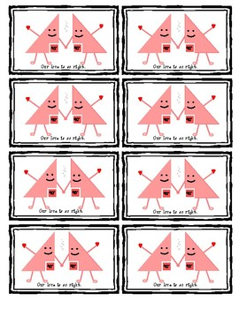 Math Valentine's Day Treat Cards (Right Angles)