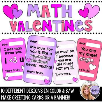 Math Valentines!  Perfect For Valentine's Day Cards or Banner