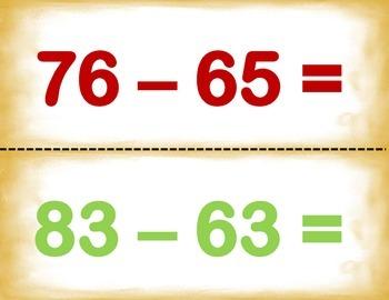 Spanish Math Vertical+Horizontal Add -Subtract - Suma y Resta H y V in a Station