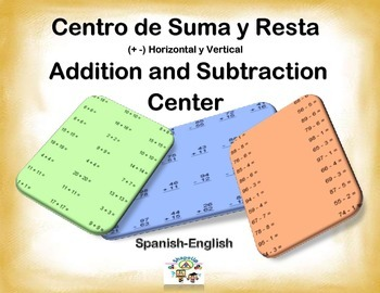 Spanish Math Vertical+Horizontal Add -Subtract - Suma y Re