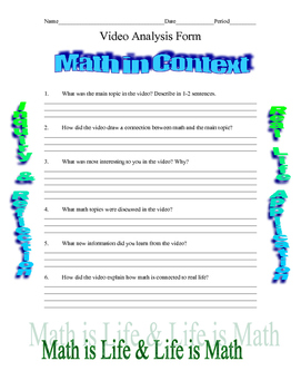 Math Video Analysis Form