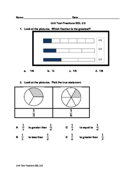 Math Virginia SOL 2.3 Fractions