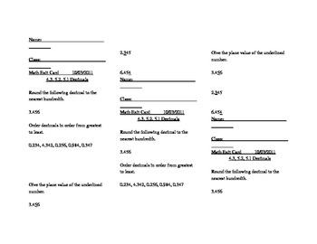 Math Virginia SOL 4.3 , 5.2 , 5.1 Decimals Exit Card (3 per page)