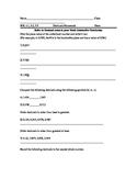 Math Virginia SOL 4.3, 5.2, 5.1 Decimals Homework Assignment
