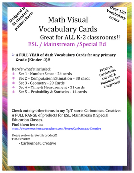 Math Visual Vocabulary Cards & Word Wall Grades K - 2
