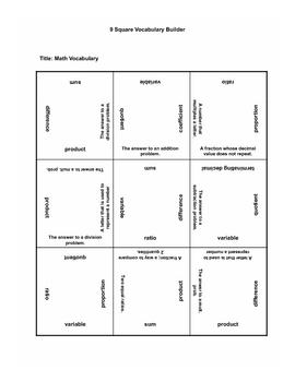 Math Vocab 9 Square