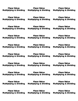 Math Vocab Memory Game Cards - Place Value
