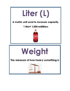 Math Vocab / Word Wall Words -Measurement, graphs & Time - Math Expressions