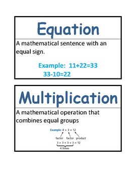 Math Vocab / Word Wall Words - Multiplication & Division - Math Expressions