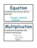 Math Vocab / Word Wall Words - Multiplication & Division -