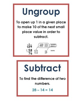 Math Vocab / Word Wall Words - Place Value - Math Expressions Unit 4
