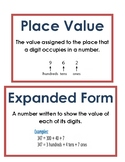 Math Vocab / Word Wall Words - Place Value - Math Expressi