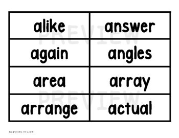 Math Vocabulary Word and Phrase Strips