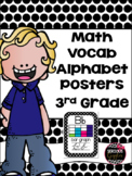 Math Vocabulary 3rd Grade Alphabet Zaner Bloser Cursive Black/White Polkadot