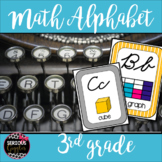 Math Vocabulary 3rd Grade Alphabet Zaner Bloser Cursive Grey/Teal/Yellow