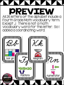Math Vocabulary 4th Grade Alphabet Zaner Bloser Cursive black and white stripe