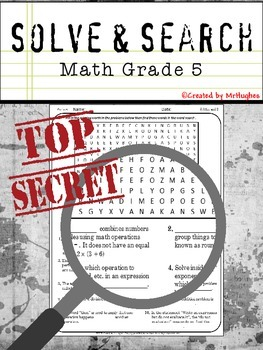 Math Vocabulary - 5th Grade Math Solve and Search