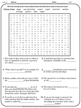 Math Vocabulary - 6th Grade Math Solve and Search