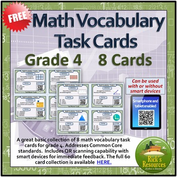 Math Vocabulary Task Cards (8) - Smart Device QR Code Enabled - FREE