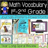Math Vocabulary 1st-2nd GRADE POWER POINTS | JOURNALS | WORD WALL |SPIRAL REVIEW