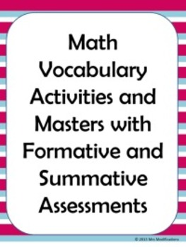 Math Vocabulary Activities, Masters, and Assessments