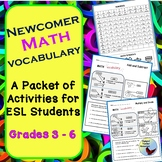 Math Vocabulary Activities for ESL Newcomer Beginner Level ELL