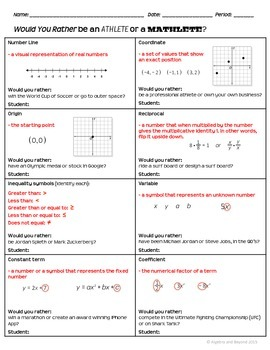 Algebra Vocabulary Activity