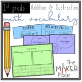 Math Vocabulary Addition & Subtraction First Grade Unit