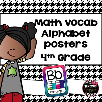 Math Vocabulary Alphabet - 4th grade - Dark Watercolor