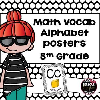 Math Vocabulary Alphabet 5th Grade Grey Polkadot