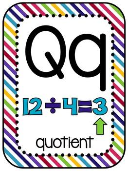 Math Vocabulary Alphabet 5th Grade Rainbow Design