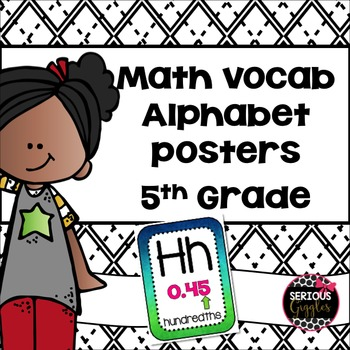 Math Vocabulary Alphabet 5th Grade Watercolor - Blue & Green
