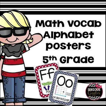 Math Vocabulary Alphabet Poster Red, White, Blue 5th grade
