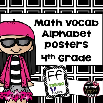Math Vocabulary Alphabet Posters 4th Grade Black and White PolkaDot
