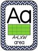 Math Vocabulary Alphabet Posters 4th Grade Navy Chevron