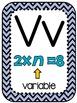 Math Vocabulary Alphabet Posters 5th Grade Navy Chevron