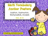 Math Vocabulary Anchor Posters - Add, Subtract, Multiply, Divide