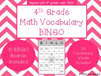 4th Grade Math Vocabulary BINGO
