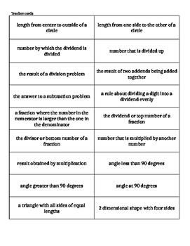Math Vocabulary Bingo