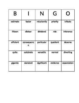 Math Vocabulary Bingo Game