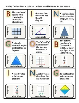 Math Vocabulary Activity Bingo Game 6th Grade