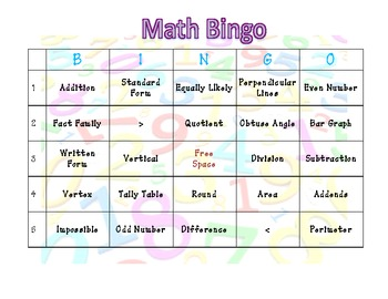 Math Vocabulary Bingo Game