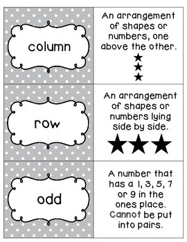 Math Vocabulary Matching Center PART 1